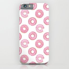Pink watercolor donut pattern iPhone Case