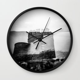 O'Brien's Tower of Ireland - Cliffs of Moher Holga Black and White Double Exposure Wall Clock