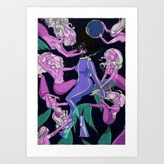 Mermaid Attack Art Print