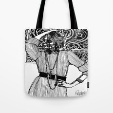 B&W Fashion Illustration - Pin Striped Tote Bag