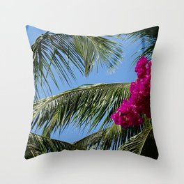 African Palm Flowers Throw Pillow