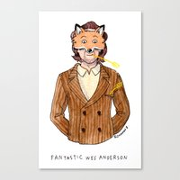 wes anderson Canvas Prints featuring Fantastic Wes Anderson by Roxanne Bee