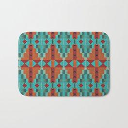Orange Red Aqua Turquoise Teal Native Mosaic Pattern Bath Mat
