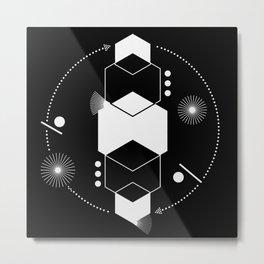 Geometric modern abstract black white Metal Print