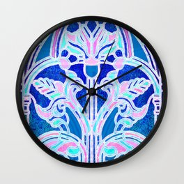 Art Nouveau Blue and Pink Batik Texture Wall Clock