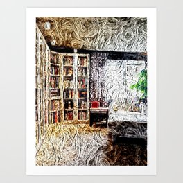 Cozy Library Room  Art Print