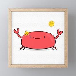 Kawaii Crab Friend Framed Mini Art Print