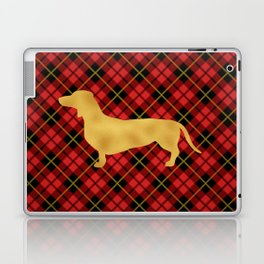 Red Plaid Dachshund Laptop & iPad Skin