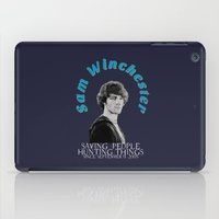 sam winchester iPad Cases featuring Family Business - Sam Winchester by Fandom GoodieZ
