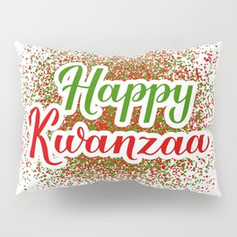 Happy Kwanzaa hand lettering. African American festival. Pillow Sham