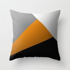 Metallic I - Abstract, geometric, metallic textured gold, silver and black metal effect artwork Throw Pillow
