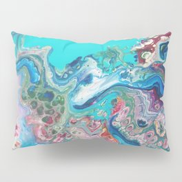 Fluid Nature - Rainbow Sea Dragon - Abstract Acrylic Pour Art Pillow Sham