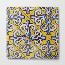 Ornament on tile drawing #Terrazzo #Blobs Metal Print