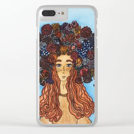 The girl with flowers in her head Clear iPhone Case