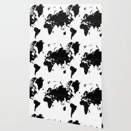 Minimalist World Map Black on White Background Wallpaper