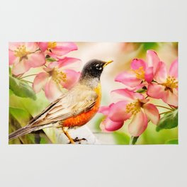 Spring Song. American Robin in spring cherry blossom. Rug