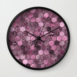 Pink & purple geometric hexagonal elegant & luxury pattern Wall Clock