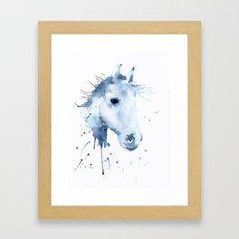 Watercolor Horse Portrait Abstract Paint Splatter Framed Art Print