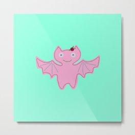 Pink Bat Metal Print