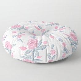 Soft Pink Botanical Rose Floor Pillow