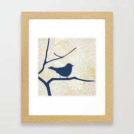 Blue Silhouette Bird Framed Art Print
