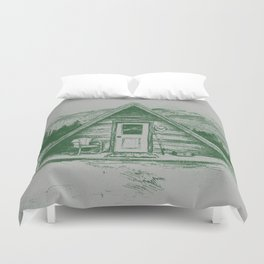 Tiny Cabin on the Mountain Duvet Cover
