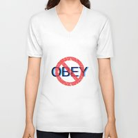 obey V-neck T-shirts featuring OBEY by Kathryn Boyers