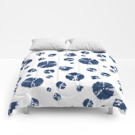 Shibori Polka Splotch Indigo Blue Comforters