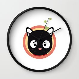 Black Cute Cat With Hearts Wall Clock