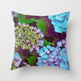 Hydrangea Pink and Blue Throw Pillow