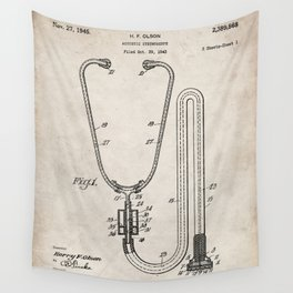 Stethoscope Patent - Doctor Art - Antique Wall Tapestry