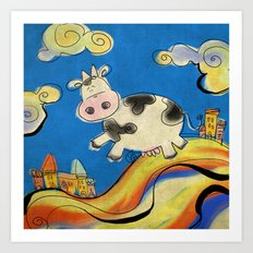Cow - blue Art Print