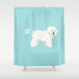 Bichon Frise dog breed funny dog fart Shower Curtain