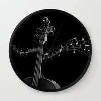 cello Wall Clocks featuring My Cello by society6-BIG