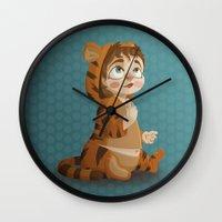 tigger Wall Clocks featuring Tigger pajama girl by Javier Robles