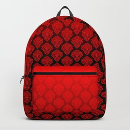 Black and Red Pentagram Damask Pattern Backpack