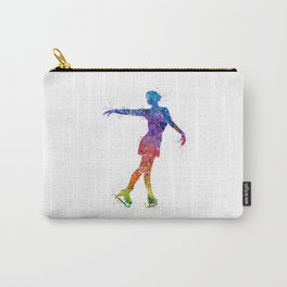 Ice Skating Girl 3 Colorful Watercolor Artwork Carry-All Pouch