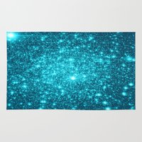 turquoise Area & Throw Rugs featuring Turquoise Teal Sparkle Stars by Whimsy Romance & Fun
