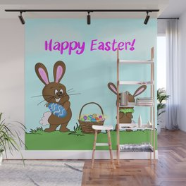 Happy Easter With Bunnies And Easter Basket Wall Mural