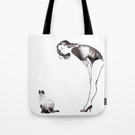 Jeanne Moreau With Cat Tote Bag