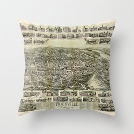 Aerial View of Rockville, Connecticut (1895) Throw Pillow