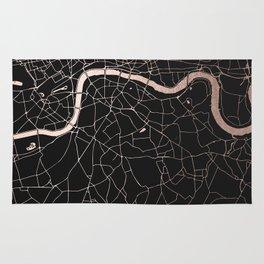 London Black on Rosegold Street Map Rug