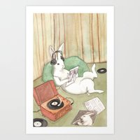 vinyl Art Prints featuring Vinyl by Bluedogrose