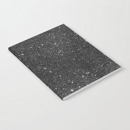 Modern chic elegant trendy faux black glitter Notebook