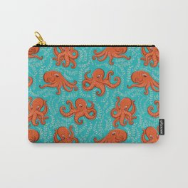 Fun orange octopus on turquoise background. Carry-All Pouch