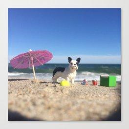 The French Bulldog + Rockaway Beach Canvas Print