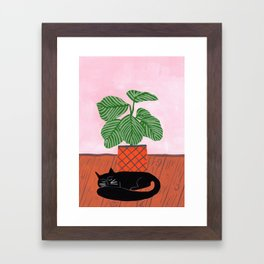 Potted plant V with cat Framed Art Print