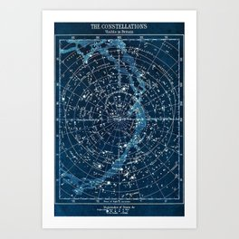 1900 Star Constellation Map - Chart Vintage Poster Art Print