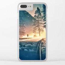 Morning on the road Clear iPhone Case
