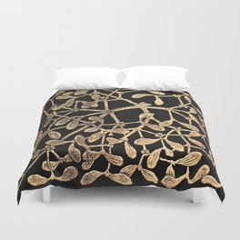 Mistletoe Black Duvet Cover